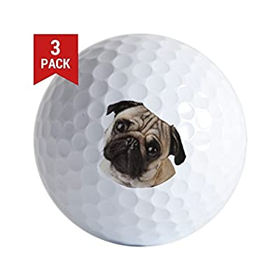 CafePress - Pug Oil Painting Face Golf Ball - Golf Balls (3-Pack), Unique Printed Golf Balls