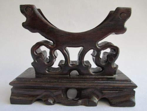 ZAMTAC Elaborate Chinese Classical Black Cherry Wood Bracelet Stand Holder