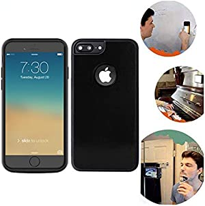 Wingcases for iPhone 8 Plus/7 Plus Anti Gravity Black Phone Case 5.5 inch Suction Stick on The Mirror Glass Flat Smooth Surface Selfie Case with Back Dust Proof Film