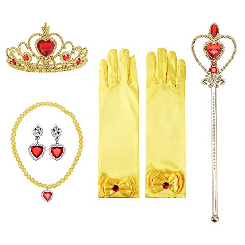 Girls Princess Dress up Accessories Set- Gloves,Tiara Crown, Earrings,Wand and Necklaces, 5 Pieces. (Yellow) ()