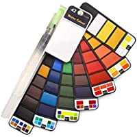 42Colors Solid Water Color Paint Set With Water Brush Pen Portable Watercolor Pigment For Drawing Art Supplies