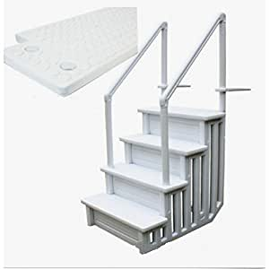 """Drop In Pool Ladder XL 32"""" Easy Snap Together Children Protection Sturdy Construction Slip Prevent-MegaTrade Prime"""