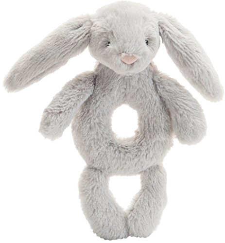 Jellycat Bashful Grey Bunny Plush Baby Ring Rattle