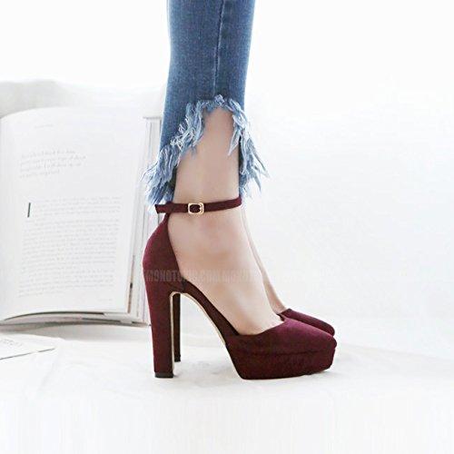 Imperméable Chaussures De Mot Chaussures Buckle Talon SHOESHAOGE Pour Un Femmes Taiwan En Chaussures Creux Couleur Talons unie Daim 4qx1wOA