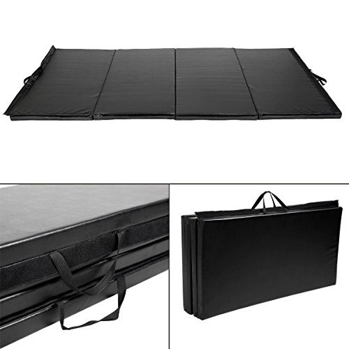 Goplus Black 4'x10'x2'' Folding Panel Gymnastics Mat Gym Fitness Exercise Mat by GoPlus