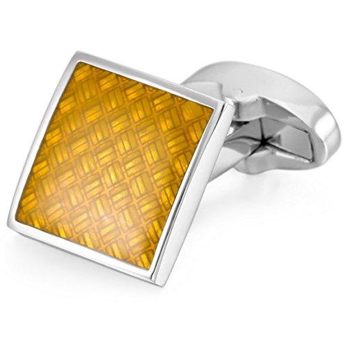 INBLUE Men's 2 PCS Rhodium Plated Enamel Cufflinks Silver Tone Yellow Square Shirt Wedding Business 1 Pair Set ()
