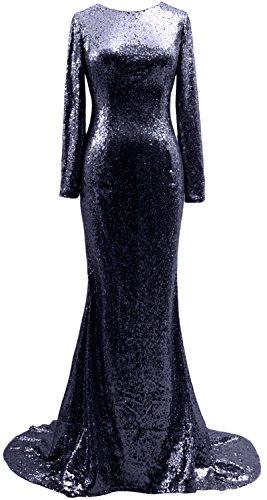 MACloth Mermaid Long Sleeves Sequin Prom Dress Open Back Formal ...