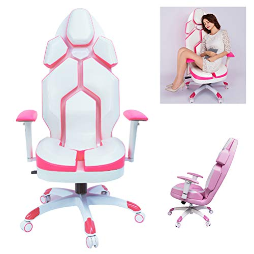 ZEIYUQI Pink and White Gaming Chair for Girls Reclining Computer Chair Home Fashion Live Chair Game Chair Lift Office Boss Chair - Adjustable Armrest