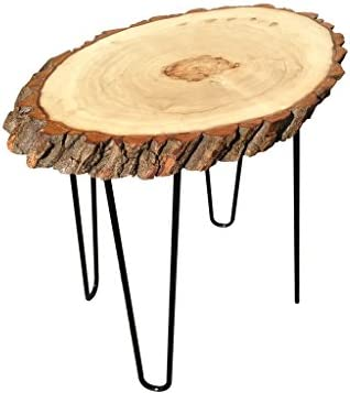Modern Solid Natural Wood Round Slab End Table End-Table-Coffee-Table-2
