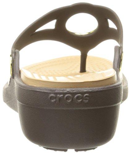 Sandale Cercle Biseautées De Femmes Espresso Crocs / Or