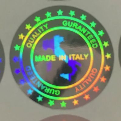 StickersLab - 64 sigilli ologrammati di garanzia e sicurezza da 19mm scritta 'MADE IN ITALY'