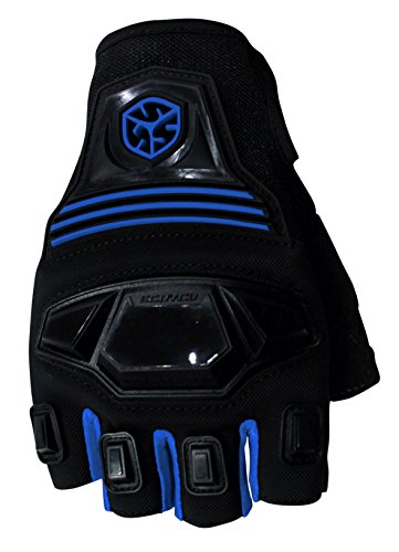 CRAZY AL'S SCOYCO MC24D Motorcycle Fingerless Gloves Sports Protective Gear Shock Resistant Padded Fingerless Safety Breathable Motorcycle Gloves (XL, Blue)
