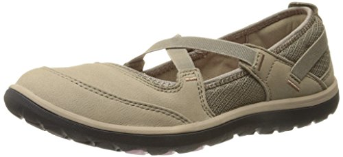 Clarks Women's Aria Mary Jane Flat - Light Brown Leather ...