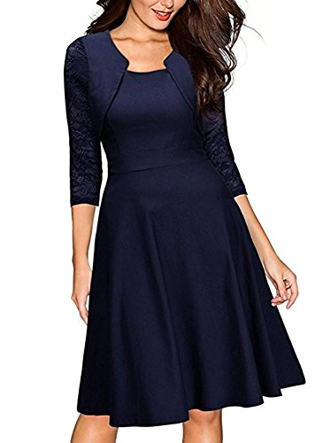 BeneGreat Women's Square Neck 3/4 Floral Lace Sleeve Work Cocktail Party Swing Dress with Pockets Blue S