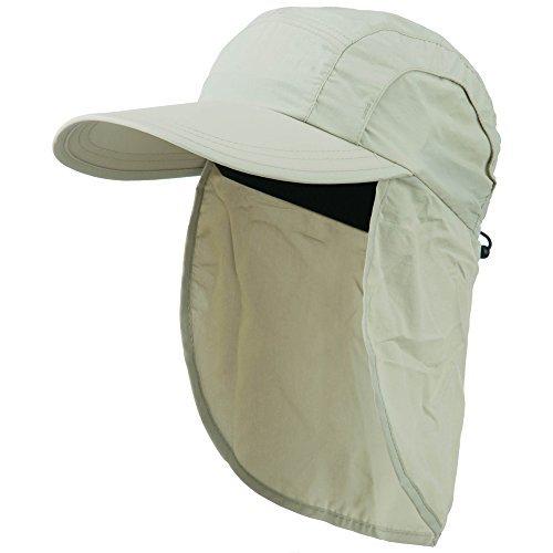 Mens UV 50+ Drawstring Flap Cap - Khaki OSFM