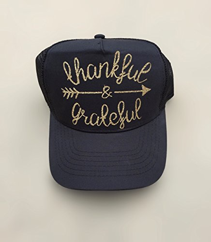 Black Cap, Women's Trucker Hat Thankful and Grateful Gold Script lettering, by It's Crystalicious