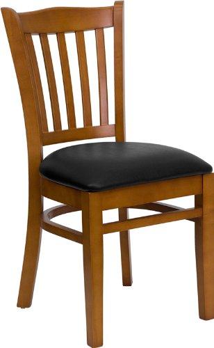 HERCULES Series Vertical Slat Back Cherry Wood Restaurant Chair - Black Vinyl (Slat Seat)