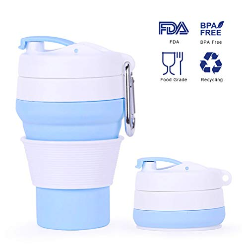 (Collapsible Coffee Cup, Reusable Pocket Cup, Silicone Mug, Camping Tumblers, Portable Sport Bottle, Travel Drinking Cup, Dishwasher Safe, 12 fl Oz)