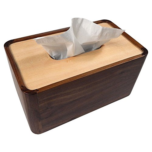 - Tomokazu Lombard Maple and Walnut Wood Large Rectangular Facial Tissue Box Cover/Wooden Holder/Paper Dispenser