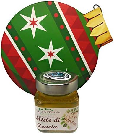 13 di Ilaria Box Cesto Confezione in Palla (20,5cm X 18cm X 7cm) Natalizia per Natale 2020 con 1 Miele di Acacia da 200gr