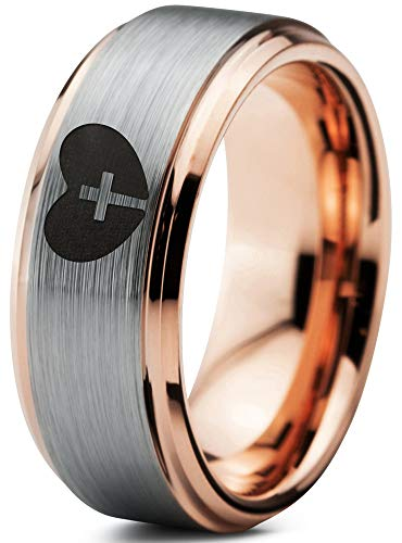 Zealot Jewelry Tungsten Religious Cross Heart Love Band Ring 8mm Men Women Comfort Fit 18k Rose Gold Step Bevel Edge Brushed Polished Size 10