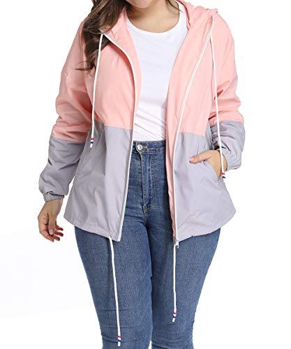 Women's Waterproof Raincoat Outdoor Hooded Rain Jacket Windbreaker Pink - Check Rain Lightweight Jacket