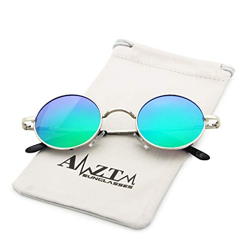 AMZTM Verde Sol Gafas Moda Marco De Redondo Lente Polarizadas Plateado Clásico OOZpw6