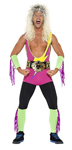(Smiffys Men's Retro Wrestler Costume, Bodysuit, Belt, Arm and Leg Cuffs,Back to the 90's, Serious Fun, Size M,)