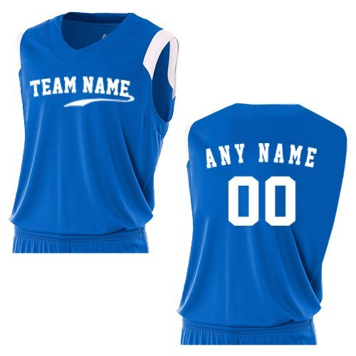 A4 Sportswear Royal/White Ladies Medium Custom (Front and/or Back) V-Neck Muscle Uniform Jersey Top