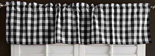 lovemyfabric 100% Polyester Gingham Checkered Plaid Design Kitchen Curtain Valance Window Treatment (Black)