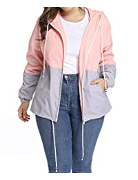 kacocob Women's Plus Size Rain Jacket Lightweight Hooded Rain Coat Windbreaker