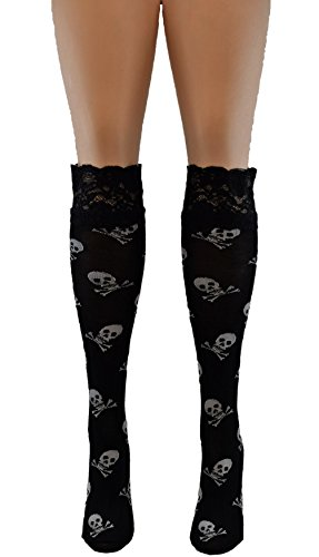 Vanea Women's Edgy Skulls Knitted Knee High With Rose Lace Top Sock Black