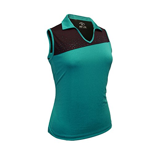 Monterey Club Ladies Dry Swing Crystal Detail Colorblock Sleeveless Polo Shirt #2093 (Algiers Blue/Black, Small)