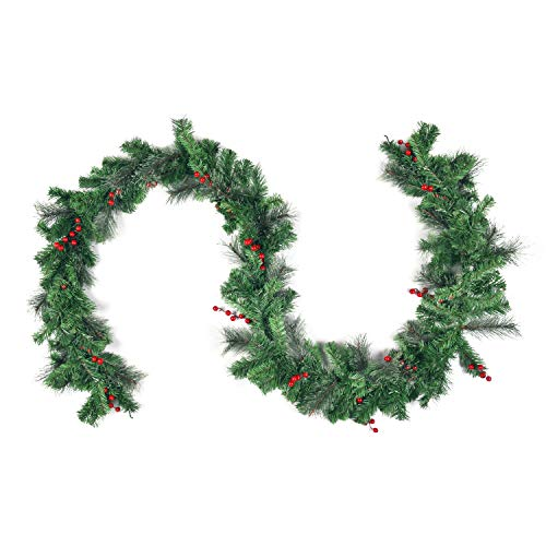 Sunm Boutique Dolicer Red Berry with Pine Cone Garland, Wintry Pine Garland with Red Berries Xmas Decorative Wreaths for Door Mantle Stairs Fireplace Decor (Christmas Fireplace Garlands For)