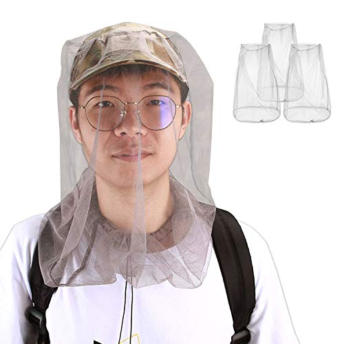 ProCase Mosquito Repellent Head Net, Pests Bugs Repellant Head Netting for Gnat No See Ums for Camping, Hunting, Trekking Fishing and Other Outdoor Activities -3 Pack, Grey from ProCase