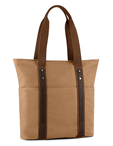 Plambag Canvas Tote Bag Leisure Top-handle Shoulder Handbag(Khaki) ()