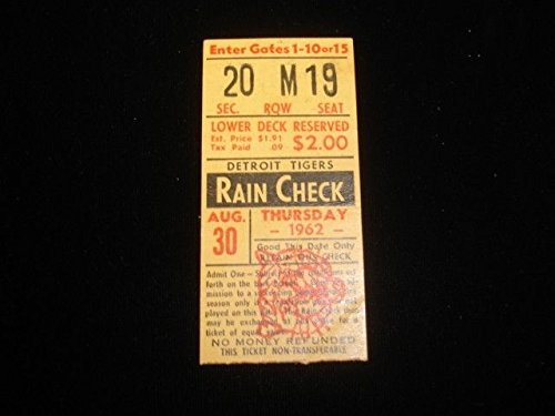 (August 30, 1962 Chicago White Sox @ Detroit Tigers Ticket Stub Ex)