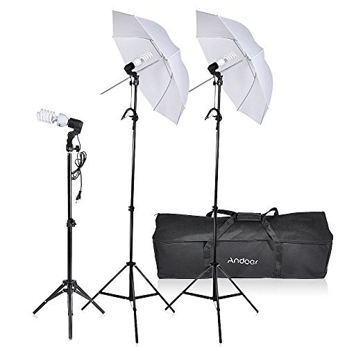 Andoer Photography Video Portrait Studio Soft Umbrella Continuous Triple Lighting Kit Photo light stand with Carrying Case by Andoer