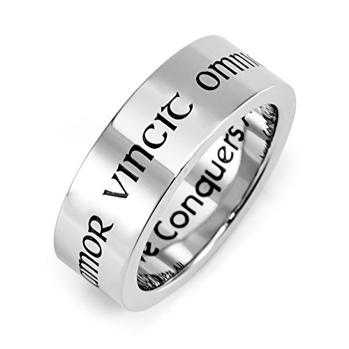 Eve's Addiction Love Conquers All Stainless Steel Poesy Ring Final Sale ()