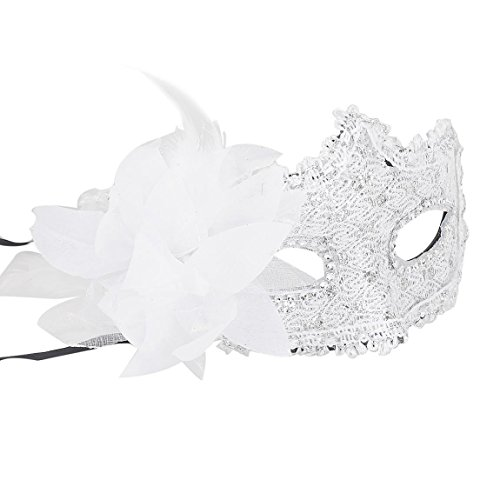 Yansanido Sexy Charm White Lace Mask with Rhinestone Liles Venetian Women's Party Masquerade Eye mask Party Ball Masquerade Fancy Dress for Halloween Night (White)