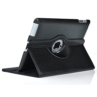 Black 360 Degrees Rotating Stand Leather Case for Ipad 2 2nd Generation from SuperLite