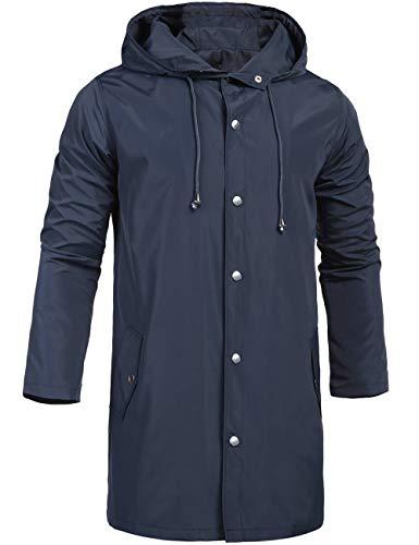 ZEGOLO Waterproof Rain Jacket for Men with Hooded Outdoor Travel Lightweight Windbreaker Shell Men's Rain Coats Long Navy Blue Large