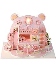 mewmewcat Montar DIY Casa de Bonecas Brinquedo Miniatura De Madeira Kit Casa de Bonecas Brinquedos com Kit de Móveis Luz LED Presente de Aniversário de Natal