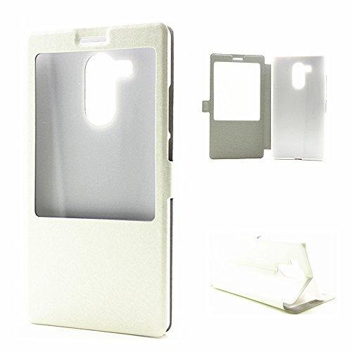 YAJIE-Carcasa Funda Para Huawei Mate 8, cuero de la PU del color sólido con la caja protectora del patrón de seda de la ventana abierta del soporte ( Color : Gold , Size : Huawei Mate 8 ) White