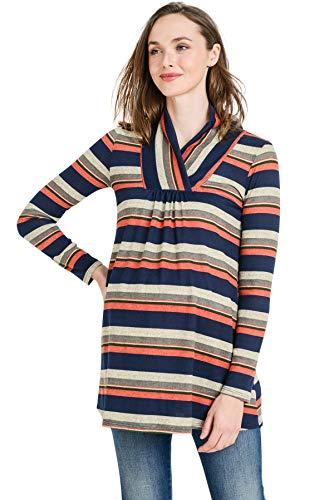 Hello MIZ Women's Sweater Knit Maternity Long Sleeve Tunic T