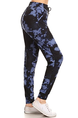 Leggings Depot JGA-R954-M Velvet Tie Dye Print Jogger Track Pants w/Pockets, Medium (Tie Dye Velvet)