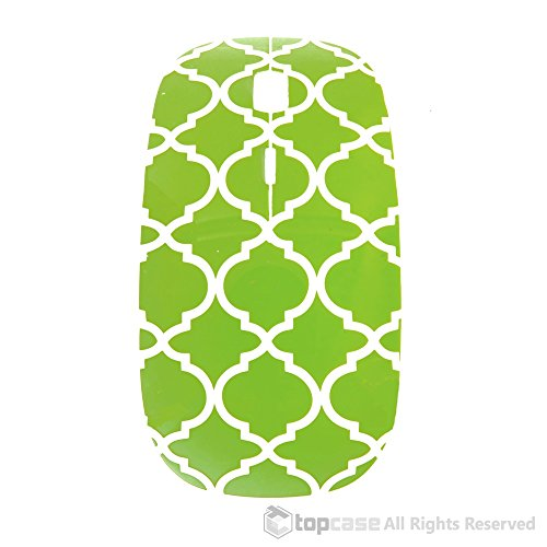 TopCase-Quatrefoil-Moroccan-Trellis-Series-Green-USB-Optical-Wireless-Mouse-for-Macbook-pro-air-and-All-Laptop-TopCase-Designed-Chevron-Mouse-Pad