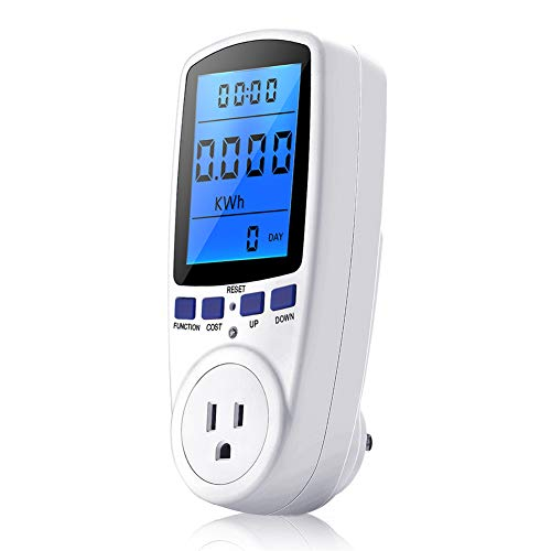 Power Meter Plug, Power Consumption Monitor Electricity Usage Monitor Analyzer Home Energy Consumption Analyzer with Digital LCD Display, Overload Protection and 7 Display Modes for Energy - Watt Electric Meter Hour