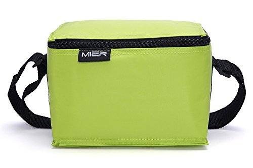MIER 6-can Soft Cooler Bag Small Insulated Lunch Box Bag for Kids, Girls, Boys(Green) (Small Cooler Lunch Box compare prices)