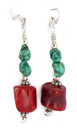 $80Tag Silver Hooks Navajo Certified Turquoise Coral Native Dangle Earrings 18294-4 Made By Loma Siiva